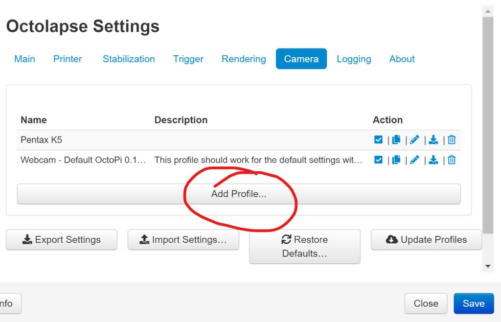 OctoLapse Add Profile Screen Capture