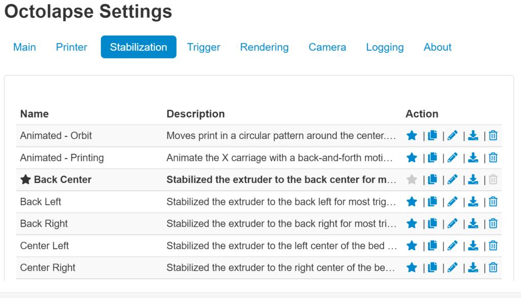 OctoLapse Stabilization Options Screen Capture