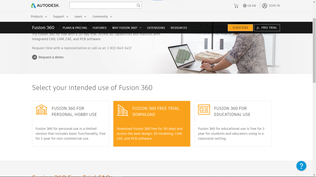 Fusion 360 Purchase Page Screen Capture