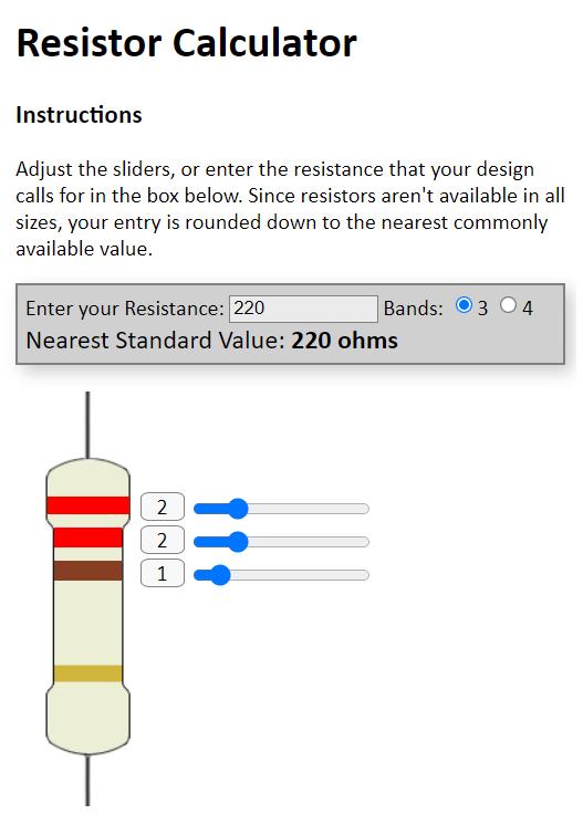 Screen Capture of a Resistor Calculator